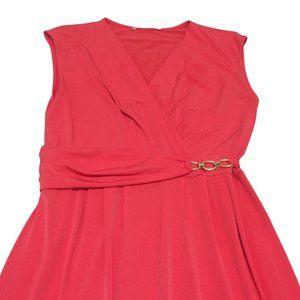 JANE LAMERTON FAUX CROSS OVER DRESS | sz12 coral